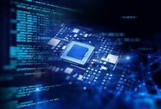 rappresentazione 3d del circuito blu futuristico Fotografie Stock Libere da Diritti