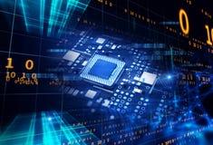 rappresentazione 3d del circuito blu futuristico Fotografie Stock