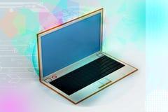 rappresentazione 3d del computer portatile nel fondo bianco Fotografia Stock Libera da Diritti
