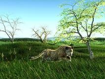 rappresentazione 3d del giaguaro sulla pianura verde erbosa illustrazione vettoriale