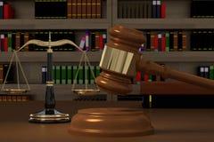 rappresentazione 3D del martelletto, delle scale di legge e dei libri illustrazione di stock