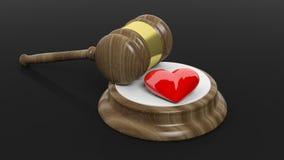 rappresentazione 3D del martelletto di legno e del simbolo rosso del cuore Fotografia Stock Libera da Diritti