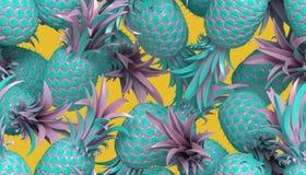 rappresentazione 3D del modello senza cuciture luminoso con gli ananas illustrazione di stock