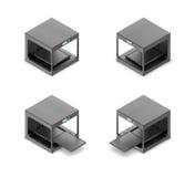 rappresentazione 3d del nero piccolo 3d-printer nello stato aperto e chiuso nella vista isometrica su due lati Fotografia Stock
