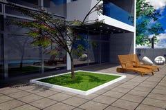 rappresentazione 3D del palazzo moderno Immagine Stock Libera da Diritti