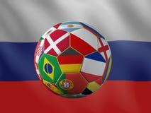 rappresentazione 3D del pallone da calcio con le bandiere nazionali Fotografie Stock