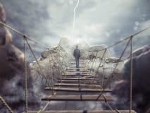 rappresentazione 3D del ponte instabile Immagini Stock Libere da Diritti