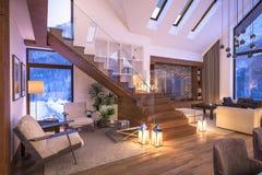 rappresentazione 3D del salone di sera del chalet Fotografie Stock Libere da Diritti