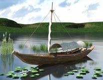 rappresentazione 3d del sampan cinese royalty illustrazione gratis
