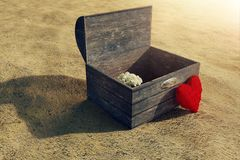 rappresentazione 3d del tesoro di legno e del cuore rosso lanuginoso Immagini Stock Libere da Diritti