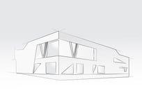 rappresentazione 3D dell'edificio per uffici, fondo bianco Concetto - architettura moderna, progettante Fotografia Stock Libera da Diritti