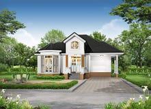 rappresentazione 3D dell'esterno tropicale della casa Immagini Stock