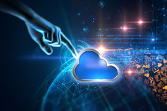 rappresentazione 3d dell'icona del sistema informatico della nuvola sul BAC di tecnologia Fotografia Stock Libera da Diritti