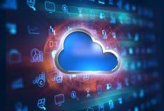 rappresentazione 3d dell'icona del sistema informatico della nuvola sul BAC di tecnologia Immagine Stock Libera da Diritti