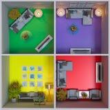 rappresentazione 3d dell'interior design degli appartamenti nel cubo Immagine Stock