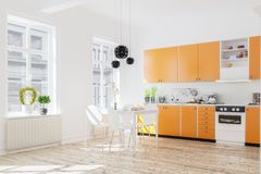 rappresentazione 3d dell'interno della cucina nella casa moderna con il tabl della cena royalty illustrazione gratis