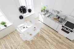 rappresentazione 3d dell'interno della cucina nella casa moderna con il tabl della cena illustrazione vettoriale