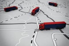 rappresentazione 3D dell'itinerario di trasporto Fotografia Stock Libera da Diritti