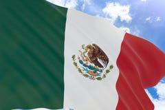 rappresentazione 3D della bandiera bianca che ondeggia sul fondo del cielo blu Fotografia Stock