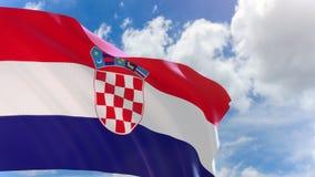 rappresentazione 3D della bandiera della Croazia che ondeggia sul fondo del cielo blu con l'alfa canale stock footage