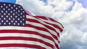 rappresentazione 3D della bandiera degli Stati Uniti d'America che ondeggia sul fondo del cielo blu