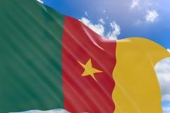 rappresentazione 3D della bandiera del Camerun che ondeggia sul fondo del cielo blu Immagini Stock Libere da Diritti