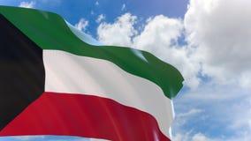 rappresentazione 3D della bandiera del Kuwait che ondeggia sul fondo del cielo blu con l'alfa canale