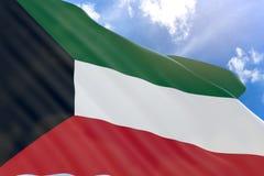 rappresentazione 3D della bandiera del Kuwait che ondeggia sul fondo del cielo blu Fotografia Stock