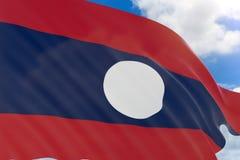 rappresentazione 3D della bandiera del Laos che ondeggia sul fondo del cielo blu Immagini Stock Libere da Diritti