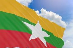 rappresentazione 3D della bandiera del Myanmar che ondeggia sul fondo del cielo blu Immagine Stock Libera da Diritti