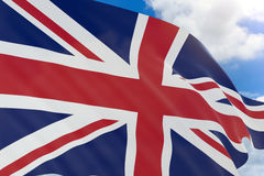 rappresentazione 3D della bandiera del Regno Unito che ondeggia sul backgroun del cielo blu Fotografie Stock