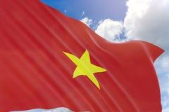 rappresentazione 3D della bandiera del Vietnam che ondeggia sul fondo del cielo blu Immagine Stock Libera da Diritti
