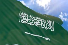 rappresentazione 3D della bandiera dell'Arabia Saudita che ondeggia sul fondo del cielo Fotografia Stock