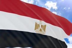 rappresentazione 3D della bandiera dell'Egitto che ondeggia sul fondo del cielo blu Fotografie Stock
