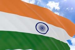 rappresentazione 3D della bandiera dell'India che ondeggia sul fondo del cielo blu Fotografia Stock