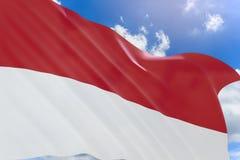 rappresentazione 3D della bandiera dell'Indonesia che ondeggia sul fondo del cielo blu Fotografie Stock Libere da Diritti