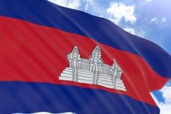 rappresentazione 3D della bandiera della Cambogia che ondeggia sul fondo del cielo blu Immagini Stock
