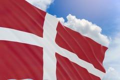 rappresentazione 3D della bandiera della Danimarca che ondeggia sul fondo del cielo blu Fotografia Stock Libera da Diritti