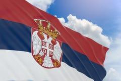 rappresentazione 3D della bandiera della Serbia che ondeggia sul fondo del cielo blu Fotografie Stock