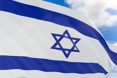 rappresentazione 3D della bandiera di Israele che ondeggia sul fondo del cielo blu Fotografie Stock
