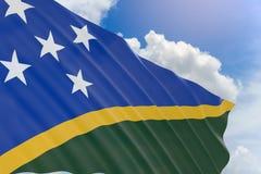 rappresentazione 3D della bandiera di Solomon Islands che ondeggia sul cielo blu Fotografia Stock