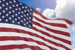 rappresentazione 3D della bandiera di U.S.A. che ondeggia sul fondo del cielo blu Fotografia Stock
