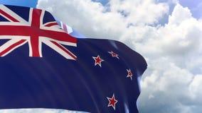 rappresentazione 3D della bandiera della Nuova Zelanda che ondeggia sul fondo del cielo blu con l'alfa canale video d archivio