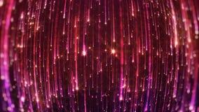 rappresentazione 3D della caduta delle particelle luminose Starfall su un fondo scuro con gli asterischi brillanti e d'ardori Immagine Stock