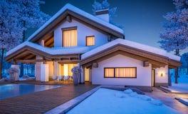 rappresentazione 3d della casa accogliente moderna nello stile del chalet Immagini Stock Libere da Diritti