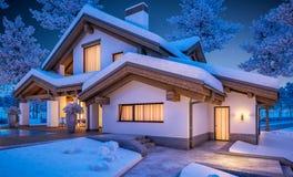 rappresentazione 3d della casa accogliente moderna nello stile del chalet Immagine Stock