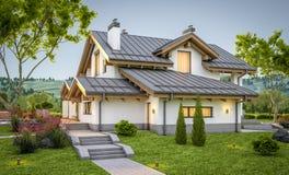rappresentazione 3d della casa accogliente moderna nello stile del chalet Fotografie Stock Libere da Diritti