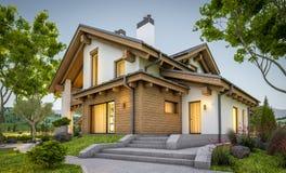 rappresentazione 3d della casa accogliente moderna nello stile del chalet Immagini Stock