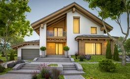 rappresentazione 3d della casa accogliente moderna nello stile del chalet Immagine Stock Libera da Diritti