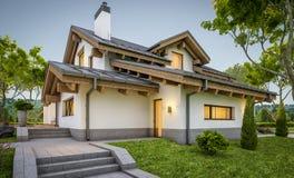 rappresentazione 3d della casa accogliente moderna nello stile del chalet Fotografie Stock